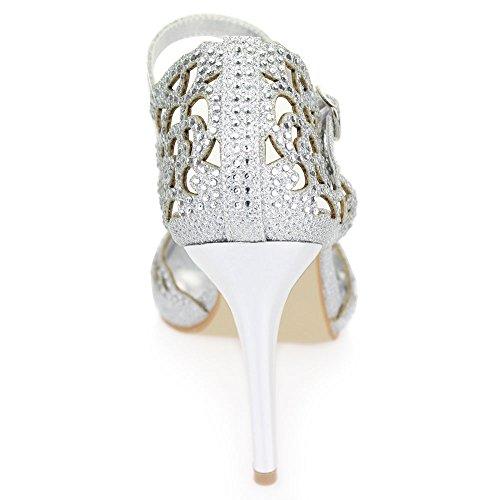 Aarz partido de las mujeres de baile boda de la tarde de las señoras del alto talón del dedo del pie abierto Diamante sandalia nupcial tamaño de los zapatos (Negro, Plata, Oro, Marrón) Plata