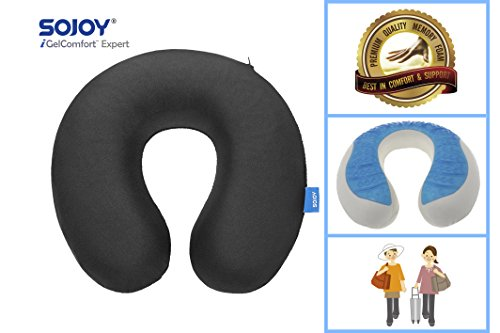 Sojoy Premium Memory Foam Cushion Car Neck Pillow (Classic Black) (17x12.5x5)