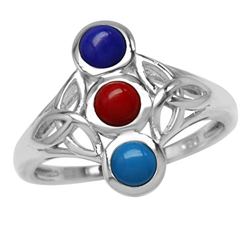 4MM Round Created Turquoise, Red Coral & Blue Lapis 925 Sterling Silver Triquetra Celtic Knot Ring Size 6 ()