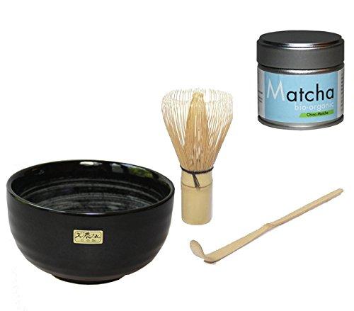 Bio Matcha Set - Bio Matcha Pulver Tee - Blue Style - in der 30 g Dose von Quertee® PLUS Original japanische Matcha Schale