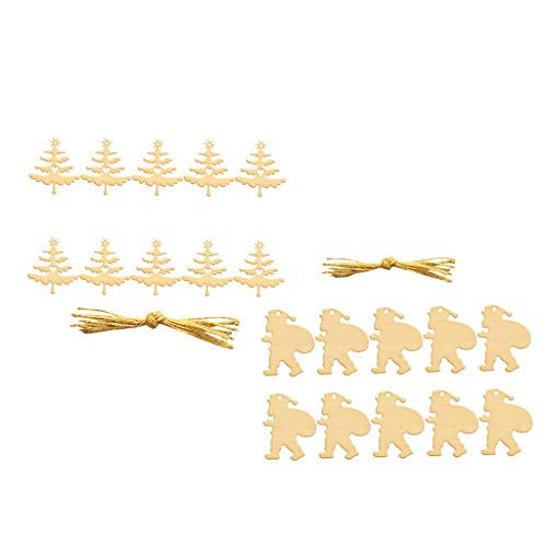Prettyia 20pcs Wooden Cutout Christmas Santa Claus Xmas Tree Hanging Gift Tags Decor]()