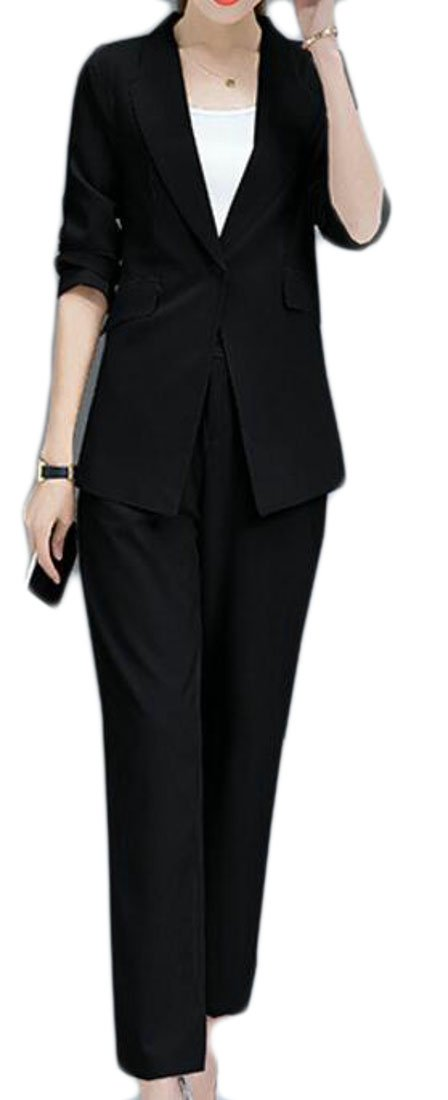 WANSHIYISHE-Women Solid Color Slim Fitted Office One Button Blazer Pants Suit Set Black US M