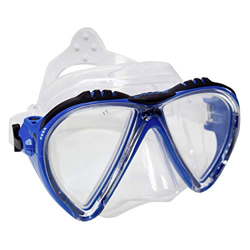 Cressi Sub Lince 2 Lens Scuba Diving Silicone Mask For Smaller Faces, Blue