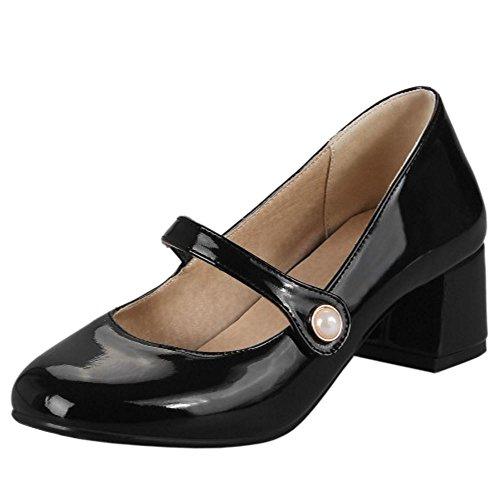 TAOFFEN Women Fashion Round Toe Block Heel Mary Jane Court Shoes Black qKGgCvC