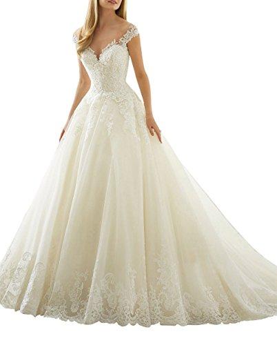 XUYUDITA Scoop cuello de hombro de encaje Vintage A-Line vestidos de novia de la boda Marfil