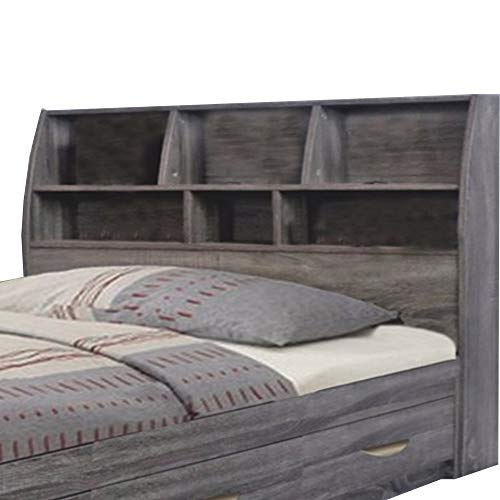 Benzara Elegant Grey Finish Full Size Bookcase Six Shelves Headboard ()
