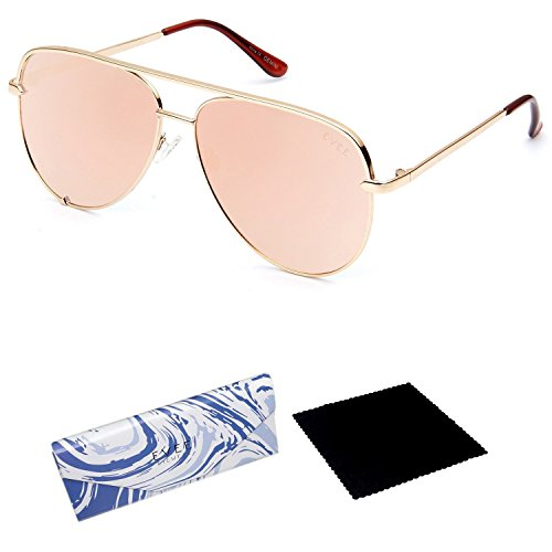 EVEE Fashionable Metal Aviator Sunglasses for Women with Flat Mirror Lenses + EVEE LIMITED EDITION CASE + MICROFIBER CLEANING CLOTH (E-GMPCGDPK) (Gold, - 1970s Sunglasses