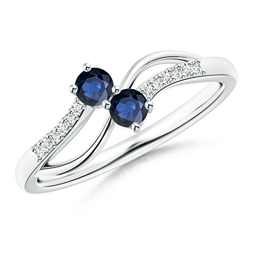Angara Split Shank Two Stone Blue Sapphire Bypass Ring in Platinum