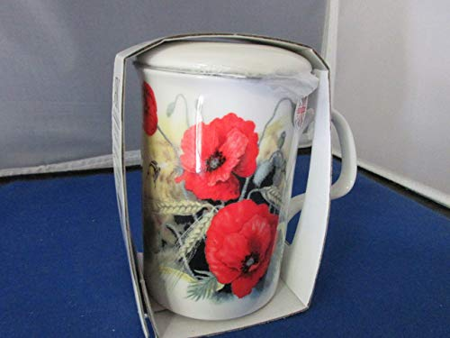 (Roy Kirkham Poppy Fine English Bone China Tea Infuser Mug)