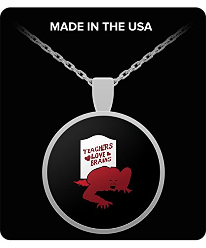 Teachers Love Brains Halloween Funny GIF Gift Necklace