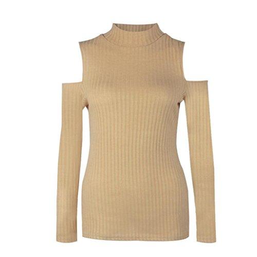 OverDose Mujeres de manga larga de punto jersey suéter Slim Puente Blusa Tops Beige