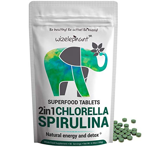 2 in 1 Chlorella & Spirulina Tablets. Premium Grade. Broken Cell Wall. 100% Pure. Natural Energy & Powerful Detox (6.34oz)