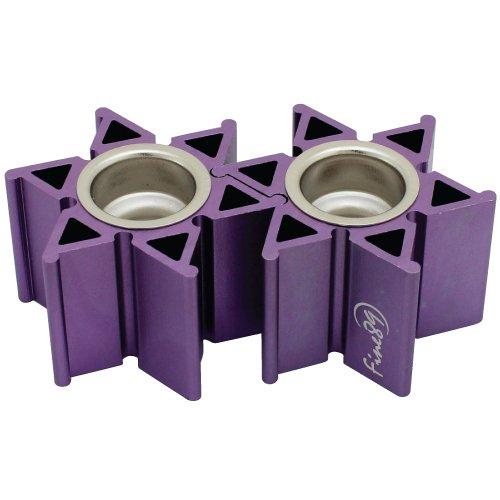 Anodized Aluminum Travel Candlesticks Tea Light Size Star of David Design for Shabbat and Holidays (Purple)
