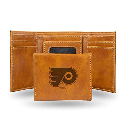 Rico Industries NHL Philadelphia Flyers Laser Engraved Tri-Fold Wallet, Brown ()