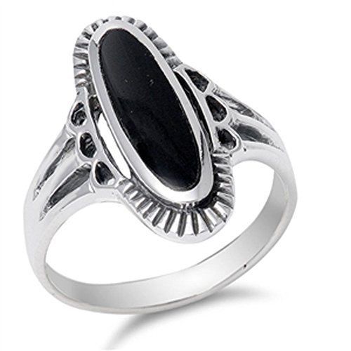Women's Long Simulated Black Onyx Unique Ring New .925 Sterling Silver Band Size 12