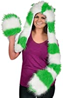 St. Patrick's Day Green And White Furry Scarf with Hand Warmers