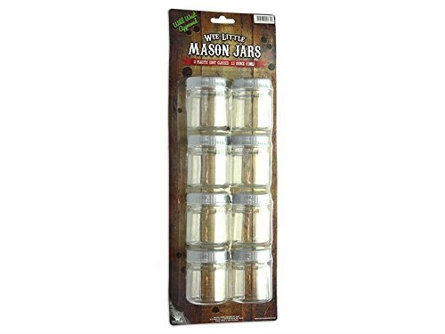 Wee Little Mason Jars with Lids - 2.5oz Plastic - Set of 8pcs WL-MJP-8