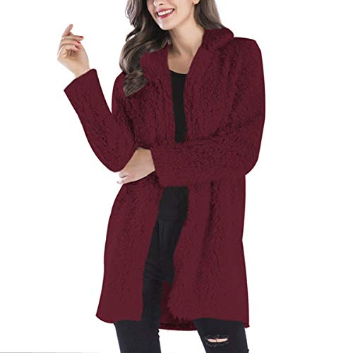 Rcdxing Outwear Warm Fleece Solid Long Sleeve Turn-Down Collar Mid-Long Teddy Sherpa Coat Warm Clothing Red