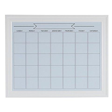 DesignOvation 209407 Bosc Framed Magnetic Dry Erase Monthly Calendar Wall Organization Board, White