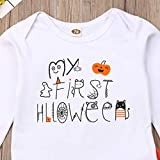 xushiyang Newborn Baby Girl Boy Clothes Long Sleeve Bodysuit Pants Outfits (0-6m) White