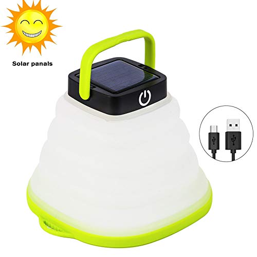 Solar Portable Led Camping Lantern Lights Outdoor -Tabletop Lantern Rechargeable Emergency Light Collapsible Flashlight- Solar or USB Chargeable for Outdoor Hiking Tent Garden (10)