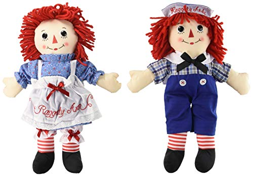 Set Doll Andy (Aurora Bundle of 2 Dolls - Large 16'' Classic Raggedy Ann and Raggedy Andy)