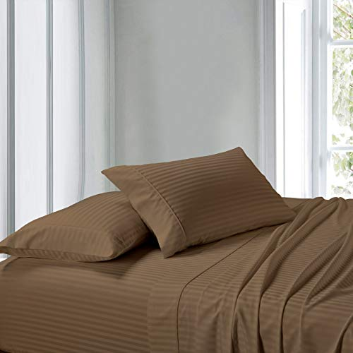 (Exquisitely Lavish Sateen Stripe Weave Bedding by Pure Linens, 300 Thread Count 100-Percent Plush Cotton, 2 Piece King Size Hemmed Pillowcase Set, Taupe)