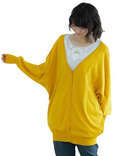 [nissen(ニッセン)] 【ゆったりワンサイズ】洗える綿100%ゆるっとドルマンニットカーディガン レディース