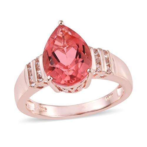 Shop LC Delivering Joy 925 Sterling Silver Vermeil Rose Gold Triplet Coral Quartz White Topaz Statement Ring Jewelry for Women Size 11 Ct - Vermeil Topaz Ring