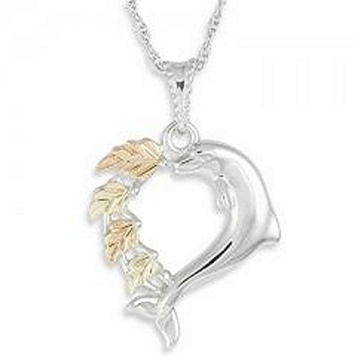 Black Hills Gold Silver Dolphin Heart Necklace
