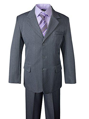 Spring Notion Big Boys' Pinstripe Suit Set Grey-Purple Stripes 14