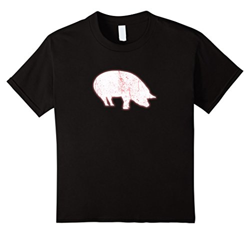 Kids Pig Farming Hog Icon T Shirt Funny Ham Oink Gift Tee 8 Black (2)