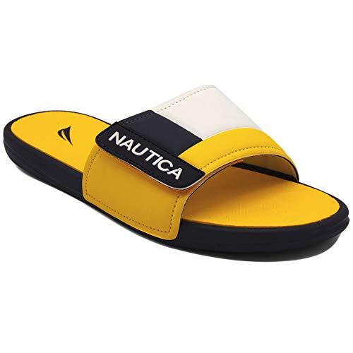 (Nautica Mens Bower Slides Sandals (8, Yellow/White/Navy))
