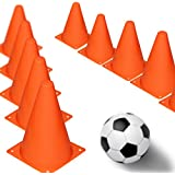 7 inch Multipurpose Training Cones (Set of 12), Soft & Durable Traffic Cone for Safety, Agility, Soccer, Football & Other Activities - Neon Orange