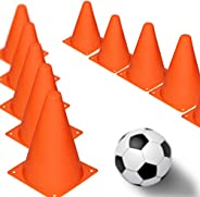 7 Inch Multipurpose Training Cones (Set of 12), Soft & Durable Traffic Cone for Safety, Agility, Soccer, F