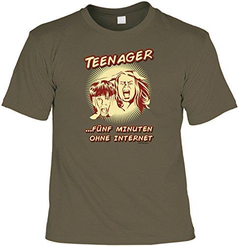 T-Shirt Funshirt - Teenager fünf Minuten ohne Smartphone - witziges Spruchshirt als Geschenk für den Jugendlichen