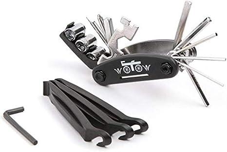 WOTOW 16 en 1 Bicicleta multifunción Kit de herramientas de reparación de bicicletas Llave Allen con 3 piezas Tire Pry barras Barras: Amazon.es: Deportes y aire libre