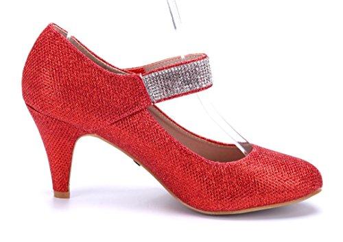 Schuhtempel24 Damen Schuhe Spangenpumps Pumps Trichterabsatz Glitzer