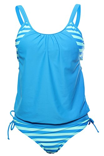 Camellias Tankini Swimsuits Cover Up Tops & Boy Shorts Panties Two Pieces Bikini Set Bathing Suit Swimwear for Women Juniors & Girls,, SZ9021-Blue-L