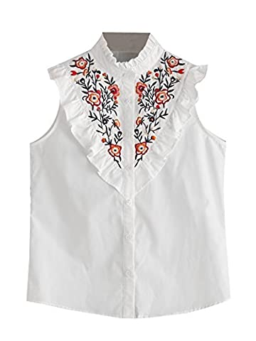 Floerns Women's Vertical Striped Ruffle Floral Embroidery Blouse Shirts White M - Flower Sleeveless Blouse