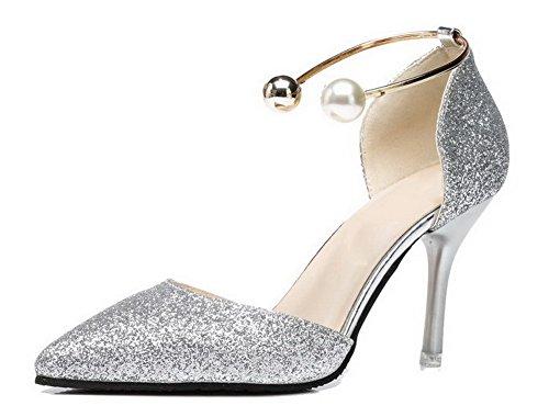 AllhqFashion Damen Stiletto Rein Ziehen auf Weiches Material Spitz Zehe Pumps Schuhe Silber