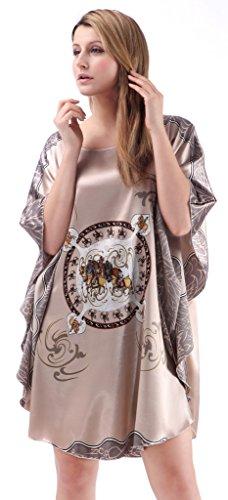 Satén Kimono Ropa Pijama, Edith qi Elegante Cómoda Pijama Bata Albonoz Para Casa,Cama, NightDress para el regalo del banquete de boda, Multicolor 7050-Caballo Gris