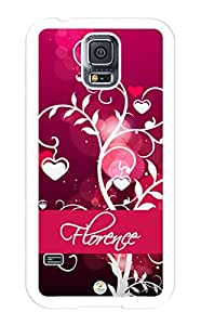 iZERCASE Samsung Galaxy S5 Case Personalized Pink Hearts on Trees Pattern RUBBER CASE - Fits Samsung Galaxy S5 T-Mobile, Sprint, Verizon and International (White) by runtopwell