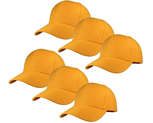 - Gelante Plain Blank Baseball Caps Adjustable Back Strap Wholesale Lot 6 Pack - 001-Gold-6Pcs