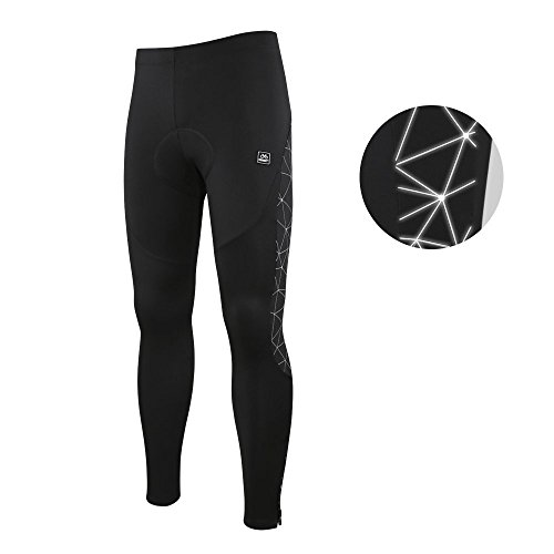 Santic Men's Cycling Tights Padded Pants Cycle Leggings Bicycle Bike Trouser-Reflective Winter Warm Windproof Black by Santic