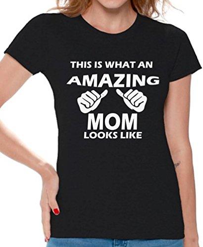 Awkwardstyles Amazing Mom Looks Like T-shirt Awesome Mom Shirt + Bookmark L Black