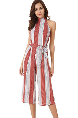 Velius Women Jumpsuit Sexy Sleeveless Halter High Waist Stripe Backless Wide Leg Pants Romper (Large, Red & Gray)
