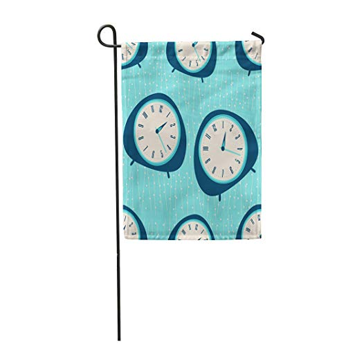 """Semtomn 12""""x 18"""" Garden Flag Blue Mid Century Clock Pattern Retro Vintage Fifties Styled Home Outdoor Decor Double Sided Waterproof Yard Flags Banner for Party"""