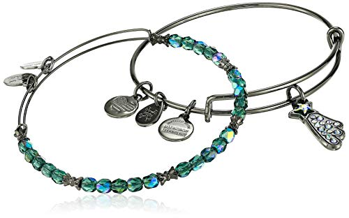 Alex and Ani Shooting Star Set of 2 Bangle Bracelet, Midnight Silver
