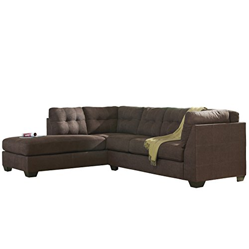 Flash Furniture Benchcraft Maier Sectional with Left Side Facing Chaise in Walnut (2 Piece Living Room Chaise)